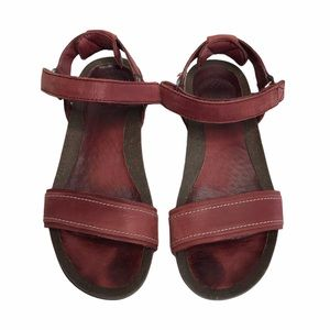 Teva Red Leather Sandals Velcro Straps Size 6